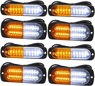 Emergency Strobe Lights, Universal 8-Pack Surface Mount Emergency Warning Hazard Flashing Strobe Light Bar for Off Road Vehicle, ATVs, Truck(Amber/White)