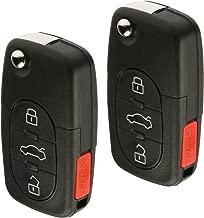 Car Flip Key Fob Keyless Entry Remote fits 2002 2003 2004 Audi A4 A6 A8 Allroad Cabriolet RS6 S4 S6 S8 TT Quattro (MYT8Z0837231), Set of 2