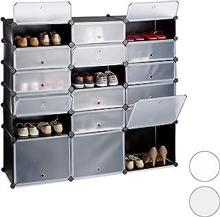 Relaxdays Zapatero Modular Grande 18 Compartimentos, Negro, 125.5 X 140 X 36.5 Cm