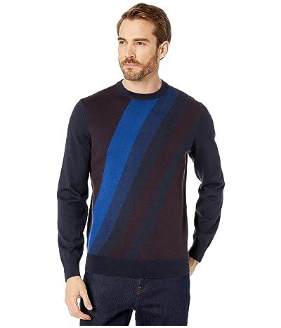 Perry Ellis Bold Stripe Long Sleeve Sweater (Dark Sapphire) Men