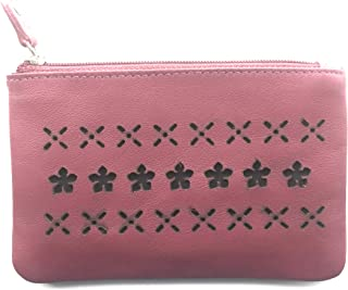 Bamsu Genuine Leather Mini Purse Bag with Zipper pocket small slim wallet for girls/Women Maroon