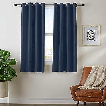 "Amazon Basics Room Darkening Blackout Window Curtains with Grommets - 42"" x 63"", Navy, 2 Panels"