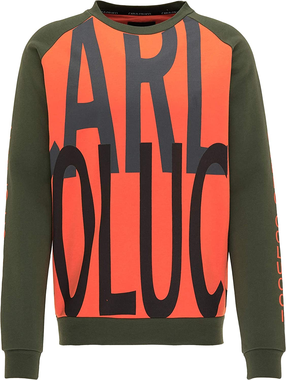 Carlo Colucci Sweat-shirt avec logo imprimé Vert/orange Vert