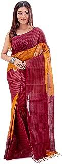 SareesofBengal Women's Handloom Jamdani Cotton Tangail Bengal Tant Checkered Saree Mustard Yellow