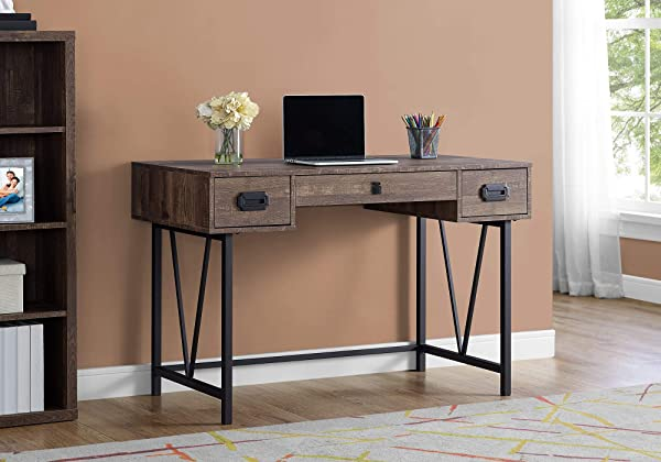 Monarch Specialties I 7412 Laptop Table With Drawers Industrial Style Metal Legs Computer Desk Home Office 48 L Brown Reclaimed Wood Look