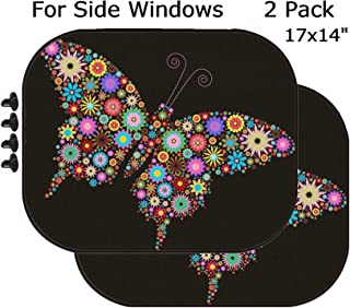 MSD Car Sun Shade - Side Window Sunshade Universal Fit 2 Pack - Block Sun Glare, UV and Heat for Baby and Pet - Image ID: 6222826 Flower Butterfly