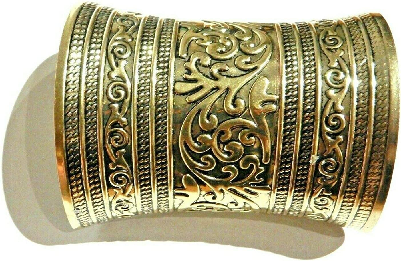 Ornate Brassy Wide Bangle Cuff Ethnic Bali African Stamped Metal Gauntlet Bracer Golden