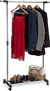 Relaxdays, argenté Portant à roulettes, Porte-manteaux roues armoire mobile trigle rangement, H réglable 96-162 cm, inox, ...