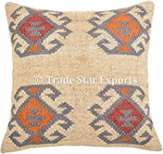 Handmade Kilim Pillow Cover 18x18, Indian Outdoor Cushions, Boho Pillow Shams, Jute Cushion Cover, Decorative Throw Pillowcases