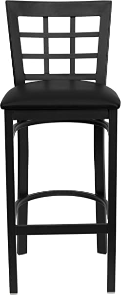Flash Furniture HERCULES Series Black Window Back Metal Restaurant Barstool Black Vinyl Seat