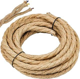 WEKON Cable de Luz Vintage, Cable Eléctrico de Lino, Cable Eléctrico Tenzada, Cable de Alimentación para Lámpara Colgante 5M Núcleo 0.75MM²Cobre y Cáñamo para Lámpara de Techo Industrial