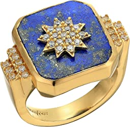 12K Soft Polish Gold/Crystal/Lapis