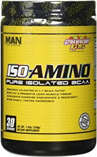 Man Sports ISO-Amino Pure Isolated BCAAs - Build Lean Muscle - Branched Chain Amino Acids Powder - Keto BCAA - Accelerate Recovery - 210 Grams, 30 Servings - Strawberry Kiwi