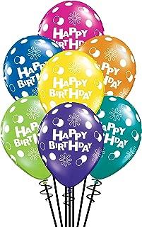 Qualatex Happy Birthday Polka Dots & Circles Fantasy Assortment Biodegradable Latex Balloons, 11-Inch (25-Units)