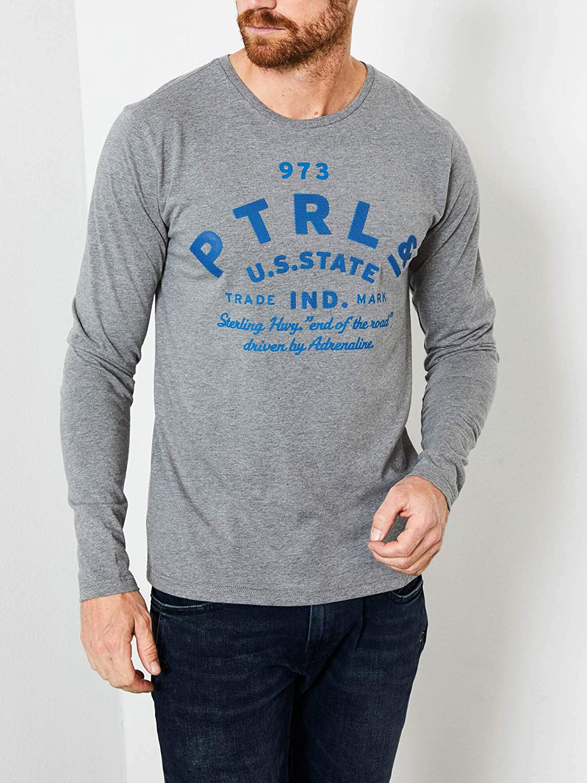 Petrol Industries T-shirt /à manches longues avec logo imprim/é.