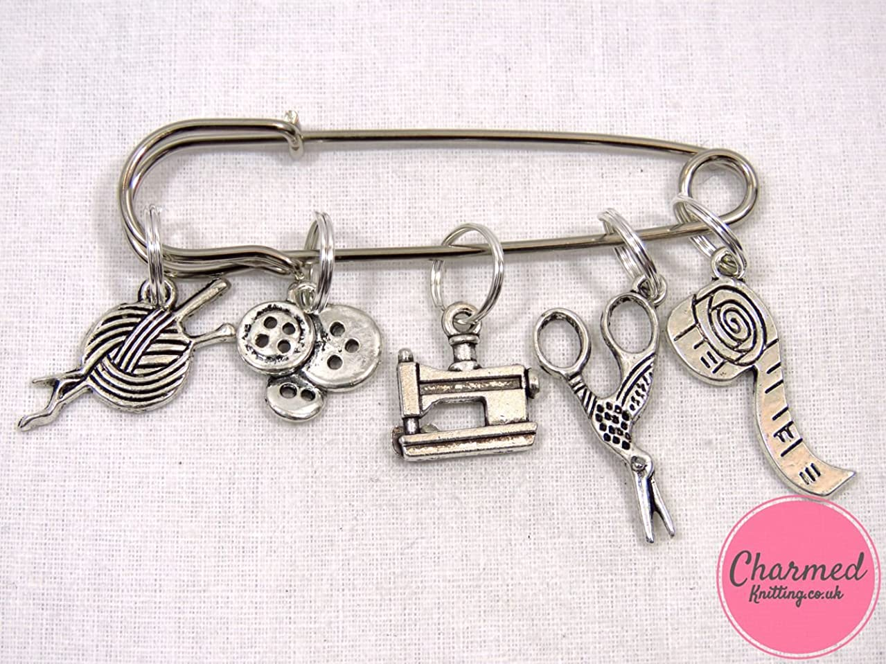 Sewing Kit - 5 Silver Knitting Stitch Markers by Charmed Knitting