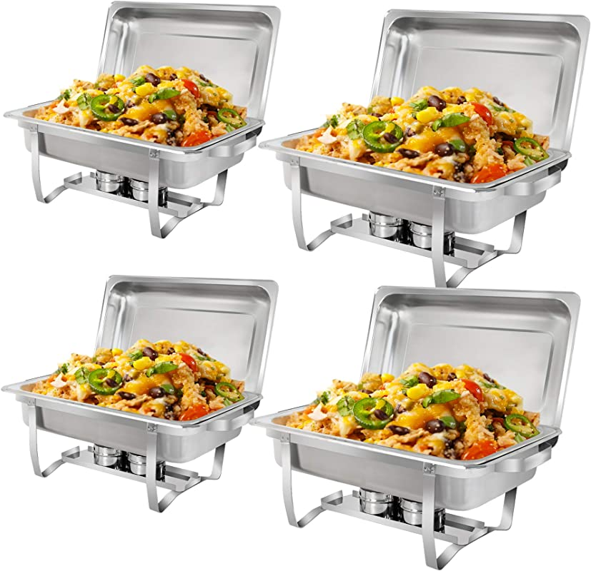 SUPER DEAL 8 Qt Stainless Steel 4 Pack Full Size Chafer Dish W Water Pan Food Pan Fuel Holder And Lid For Buffet Weddings Parties Banquets Catering Events 4