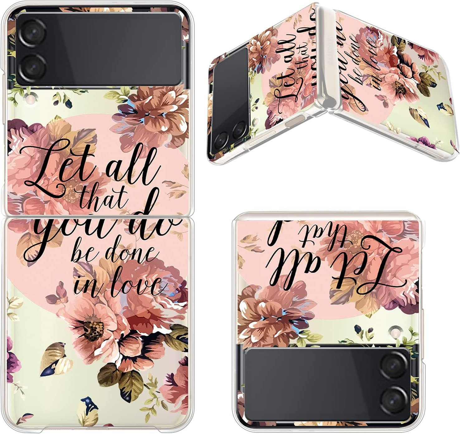 Gukalong Clear Case for Samsung Galaxy Z Flip 3 5G Full Body Shockproof Protective Hard Bumper Folding Cover Slim Thin Bible Verse Flowers Quotes Design Wireless Charging Case for Galaxy Z Flip 3 2021