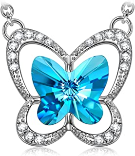 LADY COLOUR Gifts for Women Blue Butterfly Women Christmas Gifts Stylish Swarovski Crystal Necklace/Bracelet for Women, Hypoallergenic Jewelry Gift Box Packing, Nickel Free Passed SGS Test