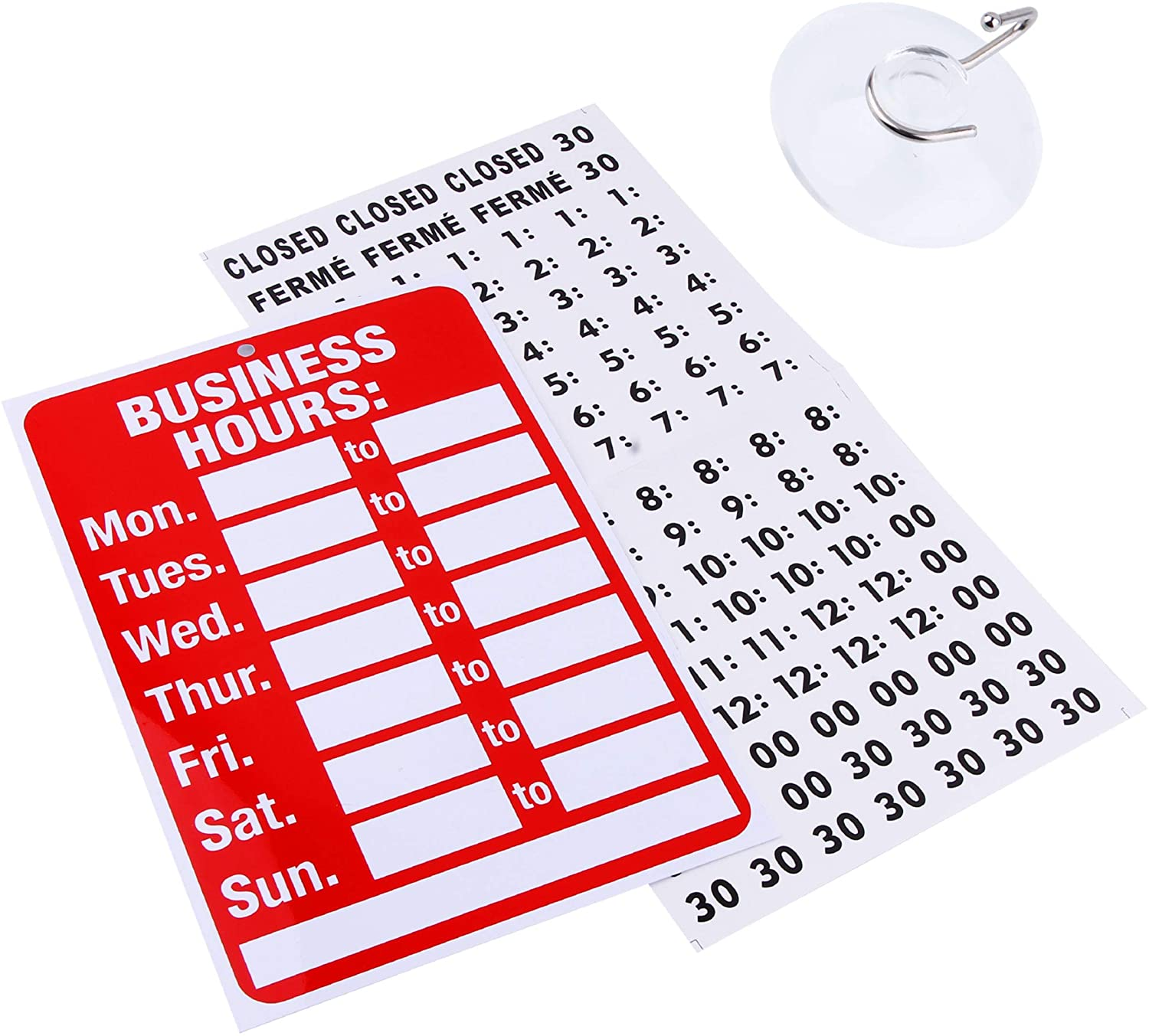 Business Hour Open Closed Sign – Bundle of Office Hours Sign Will Return Clock with Suction Cups for Door Window Businesses Stores Restaurants Bars Retail Barbershop Salon Shops (Business Hours) : Office Products