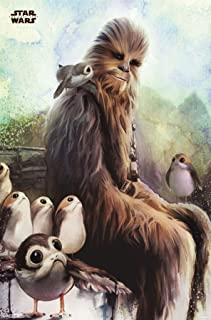 Trends International Star Wars: The Last Jedi-Wookiee and PORG Mount Wall Poster, 22.375