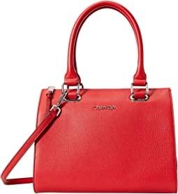 Halle Pebble Leather Satchel