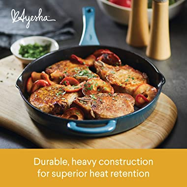 Ayesha Curry Home Collection Enameled Cast Iron Skillet/Fry Pan with Pour Spouts, 12 Inch, Twilight Teal