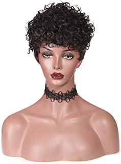 Rinboool 100% Pure Human Hair Wigs Short Curly For Black Women With Bangs off black #1b Mixed Auburn Brown #30