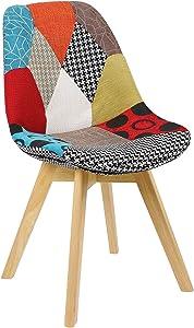 WOLTU 1 X Chaise Salle à Manger Chaise de Cuisine en Lin + Bois,Multicolore BH29mf-1