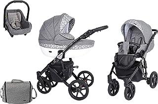 SaintBaby Passeggino Milla Black 2in1 3in1 Isofix seggiolino per bambini passeggino combi buggy Magic Grey 12 4in1 con Ove...