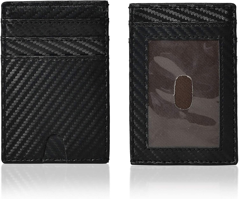 Jajmo Legacy Leather Card Holder - Full Grain Case Slim Front Pocket Minimalist Wallet - Card Cases with ID Window for Men Women (Black)