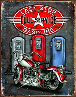 Desperate Enterprises Legends - Last Stop Gasoline Tin Sign, 12.5