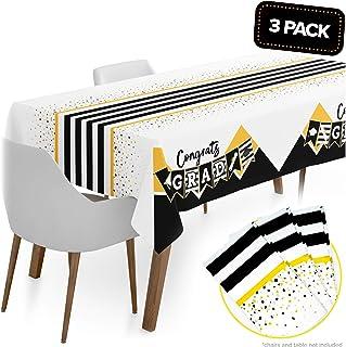 "Graduation Table Cloths Party Supplies 2020 Jumbo 3 Pack 120""x56"" - 2020 Graduation Decorations Congrats Grad Table Cover Decor Black & Gold Runner Tablecloth"