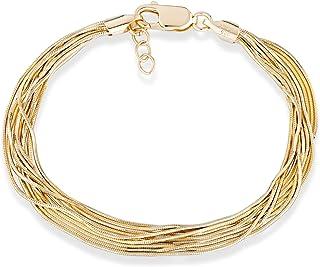 "MiaBella 18K Gold Over 925 Sterling Silver Italian Multi-Strand Diamond-Cut Solid Snake Chain Bracelet for Women Adjustable 6.5"", 7"", 7.5"", 8"""