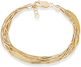 MiaBella 18K Gold Over 925 Sterling Silver Italian Multi-Strand Diamond-Cut Solid Snake Chain Bracelet for Women Adjustable Length 6.5, 7, 7.5, 8 Inch 925 Made in Italy