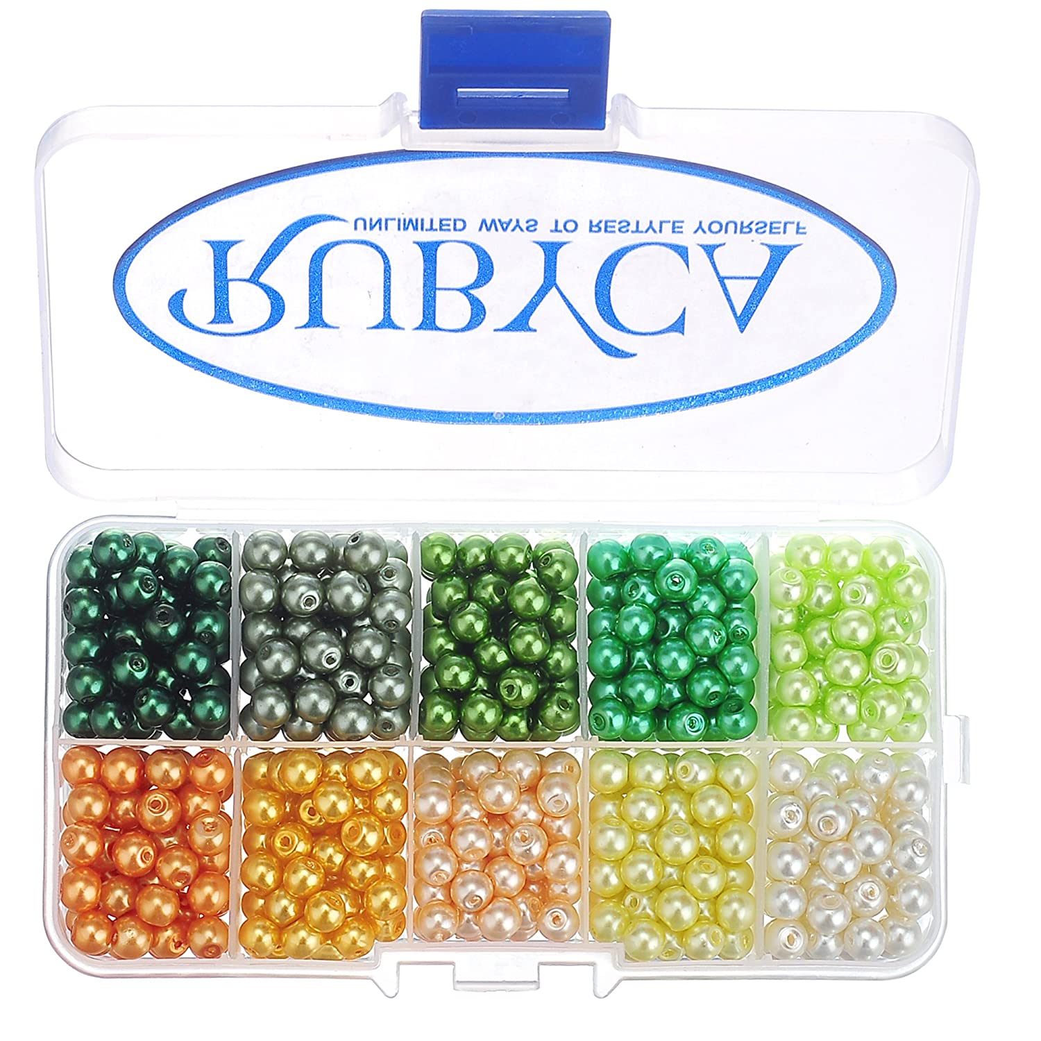 RUBYCA Czech Satin Luster Glass Pearl Round Beads for Jewelry Making, 8mm, Mix Colors, Organizer Box