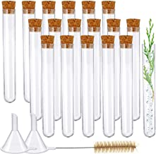 Weewooday Plastic Test Tubes with Cork Stoppers and 2 Funnels, 1 Brush for Halloween Science Party, Christmas Candy Bath S...