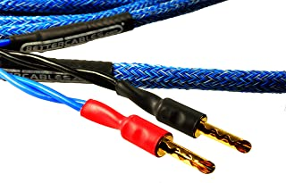 Better Cables (Pair-2 Cables for 2 Speakers) Blue Truth II Reference Speaker Cables - High-End, High-Performance, Premium Hi-Fi Audio with Gold Plated Banana Plugs (10 feet)