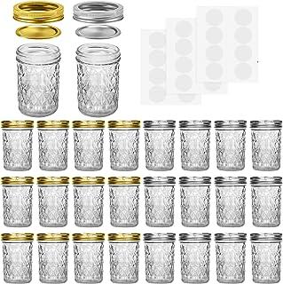 Mason Jars, 8 OZ Mason Jars Canning Jars Jelly Jars With Regular Lids and Bands, Ideal for Jam, Honey, Wedding Favors, Sho...