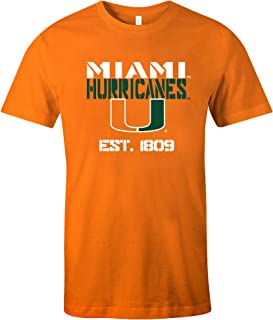 NCAA Miami Hurricanes Est Stack Jersey Short Sleeve T-Shirt, Orange,Large