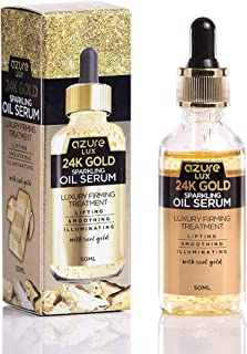 24K Gold Anti Aging Sparkling Oil Serum – Wrinkle, Fine Line & Acne Scar Reducing | Lifts and Smooths Skin | Tones and Illuminates – 50ml