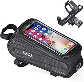 HSU Bike Phone Front Frame Bag Bicycle Bag Waterproof Bike Phone Mount Top Tube Bag Bike Phone...