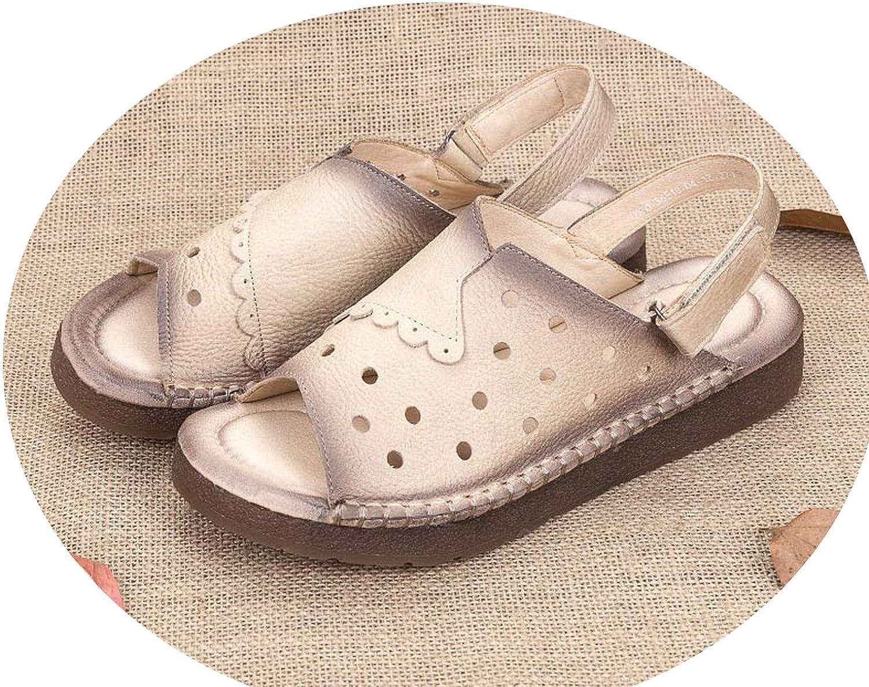 Classic Sandals Women shoes 2018 Fashion Summer Genuine Leather Casual shoes,Khaki,6