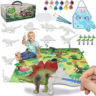 Kids Crafts and Arts Set, Dinosaur Painting Kit, 9 pcs Simulated Dinosaur Models, Creativity DIY Gift Paint Your Own Dinos...