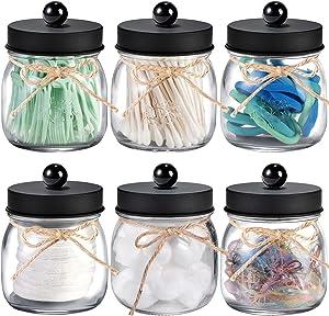 6 Pack Apothecary Jars Set,Mason Jar Decor Bathroom Vanity Storage Organizer Canister,Glass Qtip Holder Dispenser for Qtips,Cotton Swabs,Ball,bathoom accessories - Stainless Steel Lid (Black)