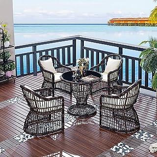 LGLE Juego de muebles de jardín de ratán, 5 piezas, muebles de ratán para patio, sofá, tejido de mimbre, incluye 4 sillones, 1 mesa de centro + cojines,