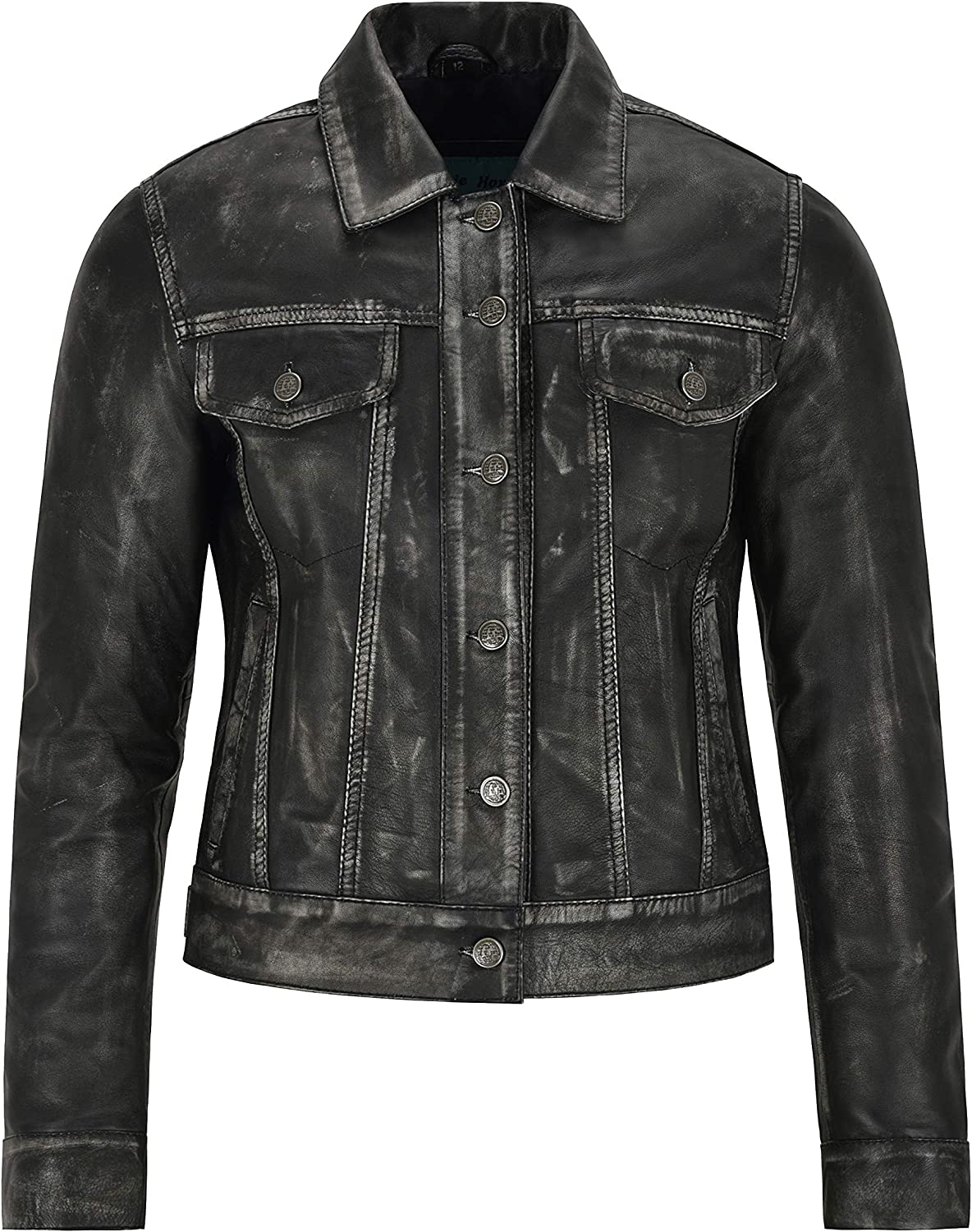 Carrie CH Hoxton Women's Trucker Real Leather Vintage Jacket Washed Leather Shirt Jacket 1680