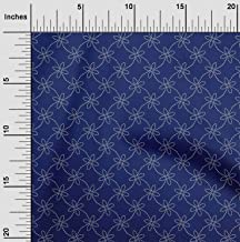 oneOone Organic Cotton Voile Fabric Artistic Floral Sashiko Printed Craft Fabric BTY 42 Inch Wide