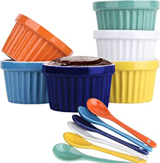 Souffle Dish Ramekins for Baking – 8 Ounce (Set of 6, Assorted Colors with 6 Extra Spoons) 8 Oz, 4-inch Ceramic Oven Safe ...