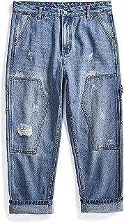 Europese en Amerikaanse herenjeans, jeugd populaire midden taille casual mode collage rechte bijgesneden broek, met zakje